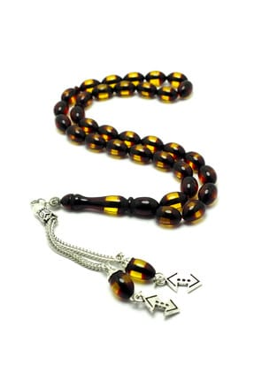 Men's Hollow Embossed Moire Sifting Amber Rosary NNVSLVR03610