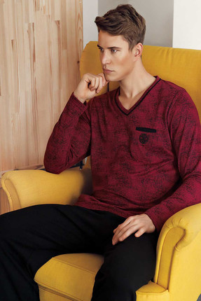 Men's Burgundy Jacquard V-neck Pajamas Set Mep24513-1 MEP24513-1