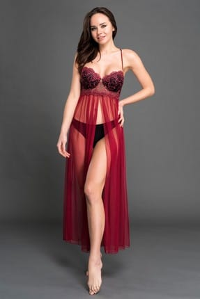 Women's Satin Burgundy Nightdress MSD-7052 SATIN NIGHT