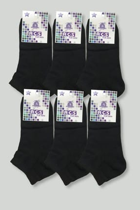 Men's Black 6 Double Aces Economic Cotton Booties Socks ELF568ACSERKEKPTK6